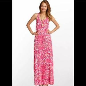 Lilly Pulitzer Pink Shell Hotty Maxi Dress - small